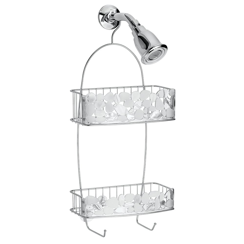 CDM product InterDesign Pebblz Bathroom Shower Caddy for Shampoo, Conditioner, Soap, Silver/Clear big image
