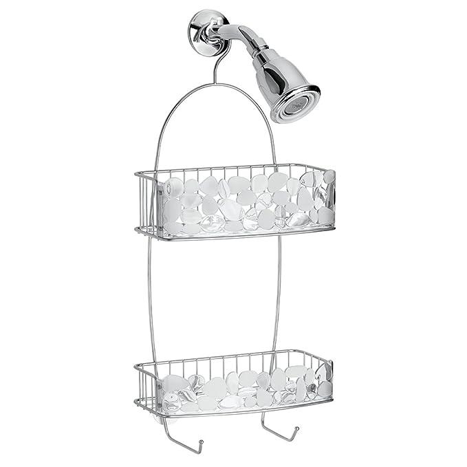Portaobjetos ducha Perchero ba/ño para colgar en la ba/ñera InterDesign Bubbli colgador ducha De metal color plateado