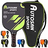 Autosan Pickleball Paddle Graphite Pickleball Racket Set with Free Carry Bag & eBook   Pickleball Racquet Lightweight and WideBody   USAPA Approved   Carbon Fiber Pickleball Paddle   PP Honeycomb Core