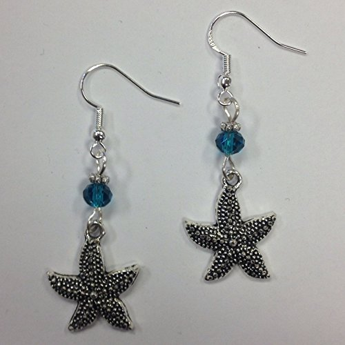 Starfish Earrings, Beach Earrings, Nautical Earrings, Coastal Earrings - with turquoise faceted crystal accent beads, on sterling silver (Turquoise Starfish Earrings)