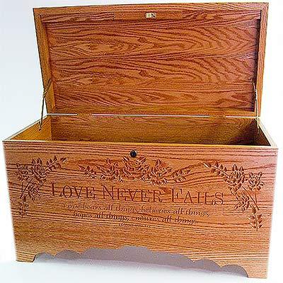 Allamishfurniture Blanket Personalized Storage Hope Chest Oak Carved Love Never Fails - Carved Oak Blanket