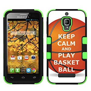 One Tough Shield ® Hybrid-Layer Protector Phone Case for Alcatel One Touch Fierce 7024W - (Keep Calm / Basketball)