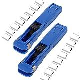 2 Pcs Clam Clip Dispenser Supaclip & 16 Pcs Metal Clips - Portable Handheld Paper Fast Clam Clip Stapler Dispenser and Refill Clips, Paper Clipper for School Office