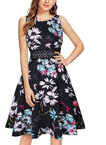 - OWIN Women's Vintage 1950's Floral Spring Garden Rockabilly Swing Prom Party Cocktail Dress Black Green