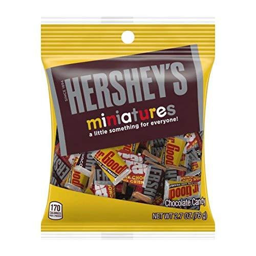 Hershey (1) Bag Miniatures Assorted Mini Candy Bars - Mr. Goodbar, Krackel, Hershey's Milk Chocolate, Hershey's Special Dark - Individually Wrapped Candy Bars - Net Wt. 2.7 oz