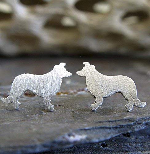 Border Collie stud earrings sterling silver brushed tiny dog jewelry. Handmade in the -