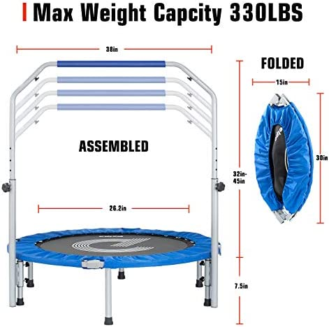 "pelpo 38''/40"" Folding Mini Trampoline, Fitness Rebounder with Adjustable Foam Handle, Exercise Bounce for Adults Indoor/Outdoor Workout Max Load 330lb"