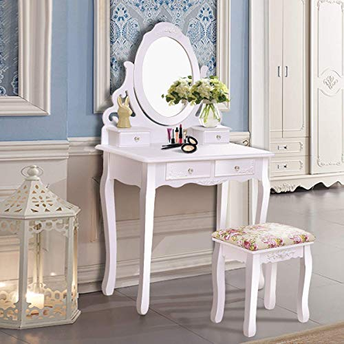 Casart Vanity Dressing Table with Mirror and Stool, 360° Rotating Oval Makeup Mirror Classic Style Delicate Carved Cushioned Benches Wood Legs, Vanity Tables with Divided Drawers, White