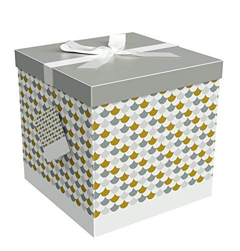 Gift Box Sienna 9x9x9 Pop up in Seconds Comes with Decorative Ribbon Mounted on The lid A Gift Tag and Tissue Paper - No Glue or Tape Required by EndlessArtUS
