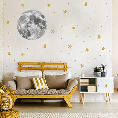 SUJING DIY Removable Moon Gold Star Wall Stickers