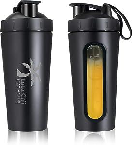 Stainless Steel Protein Shaker Bottle BPA Free, Non Insulated Shaker Protein & BCAA, Shaker & Shaker Ball, [LALA CALI] Leak-Proof, Visible Measuring Window, Dishwasher Safe, 28 Oz - 1 Pack (Black)