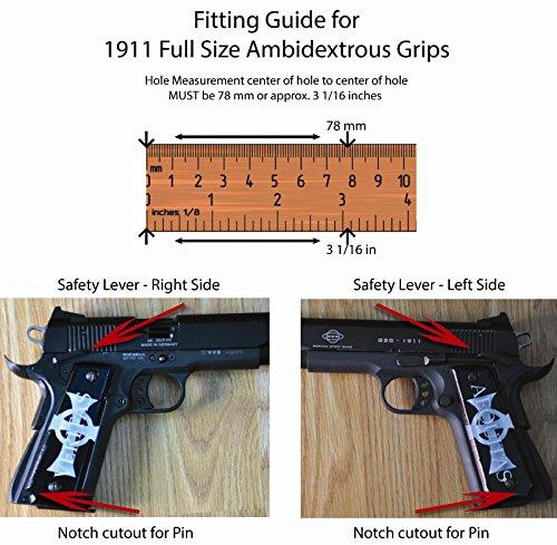 1911 Full Size Ambidextrous SPD Acrylic Custom Grips Dark Grim
