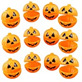 OULII Mini Pumpkin Storage Box Case Plastic Container for Halloween Gift Holder Props Party Favors 12pcs