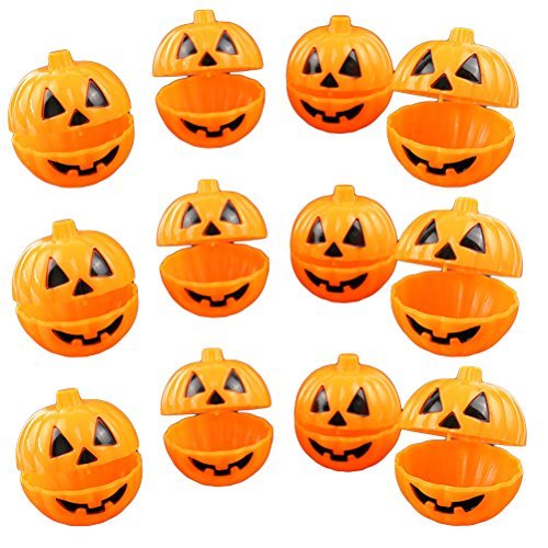 OULII Mini Pumpkin Storage Box Case Plastic Container for Halloween Gift Holder Props Party Favors 12pcs -