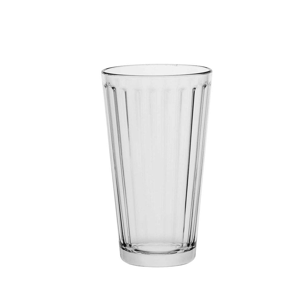 AmazonCommercial Fluted Highball Drinking Glasses, Barware Glass Tumbler, 13.0 oz., Set of 6