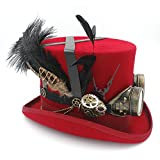 ZLQ Festival Costume Set Men Women Black Hat with Goggles Steampunk Top Hat Victorian Wedding Tophat Burning Men Cosplay Nutcracker Festival Hat Top Hat (Color : Red, Size : 61cm)