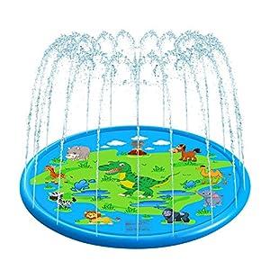Tappetino Gioco d'Acqua per Bambini 170cm, VOLADOR Splash Play Mat Sprinkler Pad Gioco di Spruzzi d'Acqua Tappetino… 1 spesavip