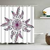 Oversized Shower Curtain Colorful Boho Shower Curtain - Bohemian Style Leather Shower Curtain, 72