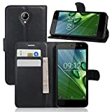 Acer Liquid Zest T06 5.0-inch Case, High Quality Litchi Skin PU Leather [Wallet Cover] [Card Holder] Stand Magnetic Folio Case for Acer Liquid Zest 5.0 inch Smartphone (Black)