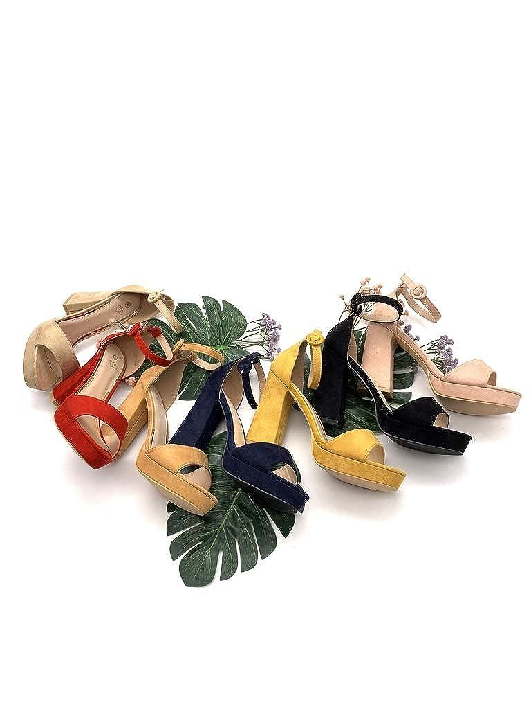 Chaussure Mode Escarpin Sandale Hauts Talons Plateforme Ouvert Femme Simple Basique Classique lani/ère Talon Haut Bloc Angkorly