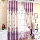 Cheap GFYWZ Curtains Polyester Purple Modern minimalist Printing Jacquard Blackout Noise Reducing Solid Thermal Pleat Living room Bedroom Window Drapes 1.52.7cm (2 panels) , purple