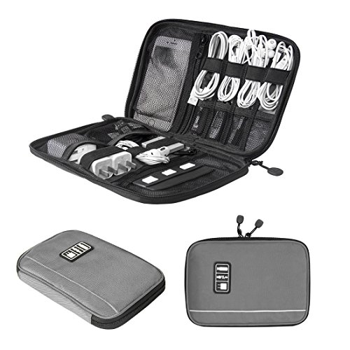 BAGSMART Travel Universal Cable Organizer Electronics Accessories Cases For Various USB, Phone, Charge and Cable, Grey