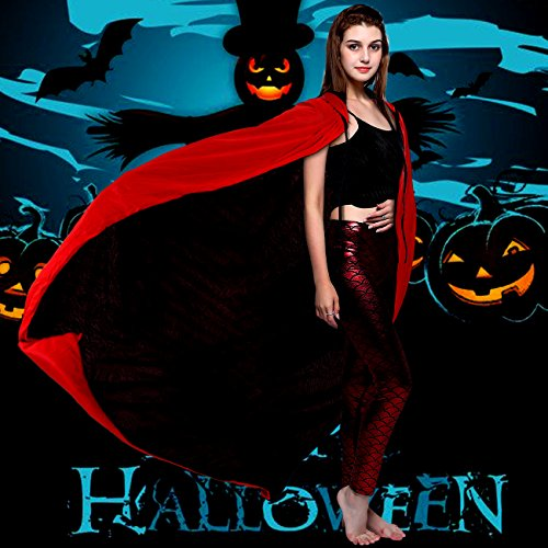 Halloween Costumes Hooded Capes Cloak for Halloween Party Easter Christmas Role Play, Cosplay Costume,Red&Black