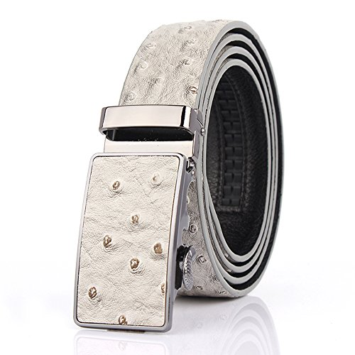 Sumcoa Men's Ostrich Skin Embossed Pattern Automatic Buckle Genuine Cow Leather Belts Ratchet Belt 35mm Wide Color - 35 Mm Bridle