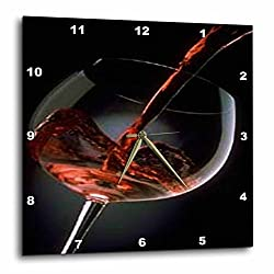 3dRose dpp_33209_2 Pour a Glass of Red Wine Wall Clock, 13 by 13