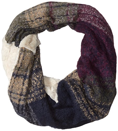 D&Y Women's Marled Boucle Supersoft Single Loop Scarf with Faux Fur, Grey, One Size