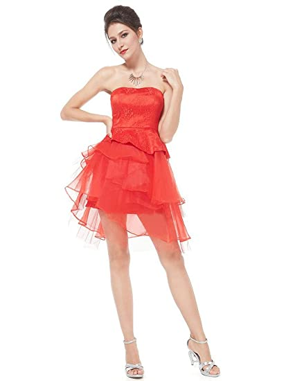 b5315fdcc1 vimans Women s 2016 Lovely Short Red Strapless Lace Puffy Prom Party Cocktail  Dresses