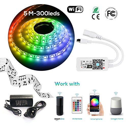 LED Strip Light WiFi Wireless Controller Waterproof Full Kit with Remote & 12V 5A Power Supply 16.4ft 5050 RGB Light Strip Music Work with Alexa Echo, Android & iOS APP and Google Home(300leds) by LinKop (Image #7)