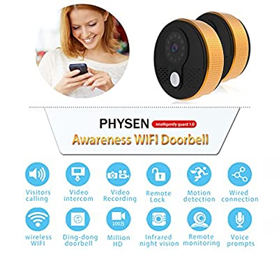 Physen Wireless Video Doorbell Camera with Wi-fi Doorbell Chime (Golden)