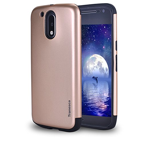 Moto G 4th Generation Case- Tranesca Slim Case with tempered glass screen protector for Moto G4(Rose Gold)-Not for G4 Plus