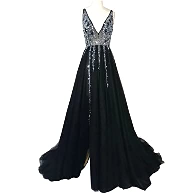 edd2e87c73c2c Chady Silver Gray Long Prom Dress 2018 Deep V Neck Sequins Beaded Tulle  Split Backless Evening Dress Long at Amazon Women's Clothing store: