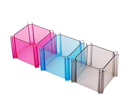4 piezas DIY rejilla caja de almacenamiento de cajón divisores plástico transparente ropa interior corbata calcetines