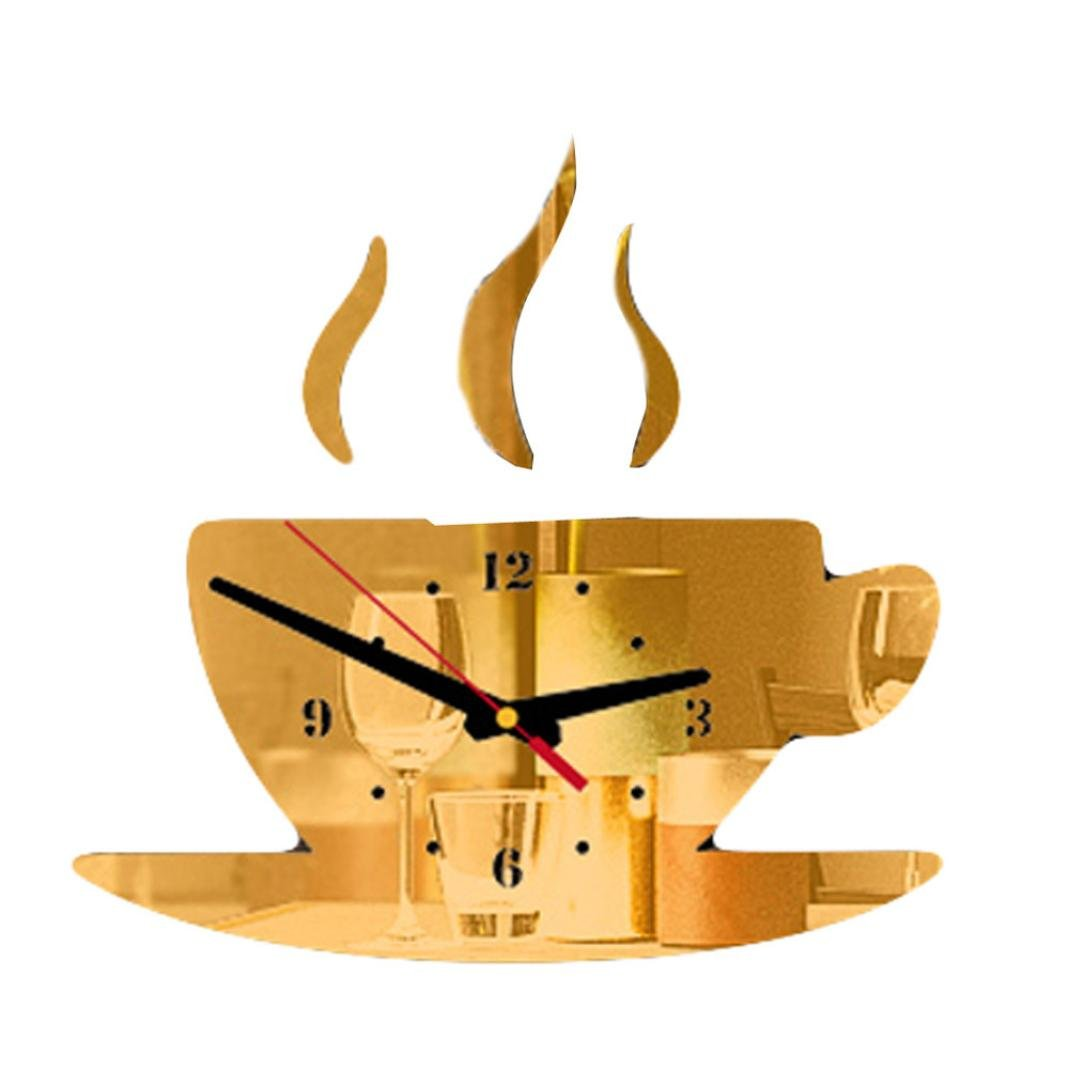 LiPing 11.9'' Acrylic 3D Coffee Shape Removable DIY Wall Clock - Easy To Read & Install Best For Home/Office/School Universal Use, Battery Operated (Gold)