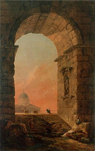 Oil Painting 'Landscape-An Arch And The Dome Of St Peter's In Rome,1773 By Hubert Robert' Printing On High Quality Polyster Canvas , 10x16 Inch / 25x40 Cm ,the Best Gift For Bf And Gf And Home Artwork And Gifts Is This High Definition Art Decorative