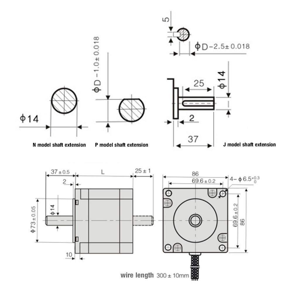 Nema 23 DC 24-40V 1.0~3.0A//Fase 1.8 /° 56 Controlador de motor paso a paso ajustable y conjunto de motor paso a paso FY56EL300A Motor el/éctrico universal Motor de CC para equipos electr/ónicos
