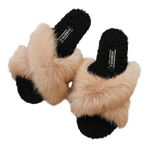 Cybling Zapatillas Fluffy Open Toe Mujer Antideslizante Suave De Piel Sintética Slip On Flats Zapatos Marrón Claro
