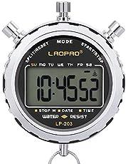 LAOPAO Chronomètre Numérique, Imperméable 1/100 Seconde Précision Minuterie,Poche Grand écran LCD Réveil pour Football Former Sports Entraîneur