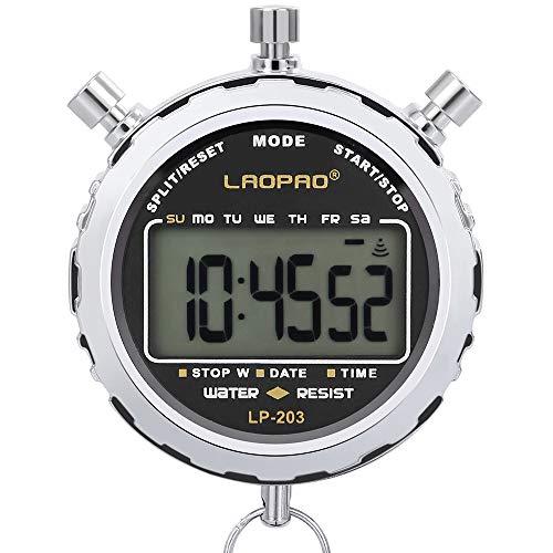 LAOPAO Digitale stopwatch, handheld groot lcd-display waterdicht dagelijks alarm 1/100 seconden Precision Timer voor…