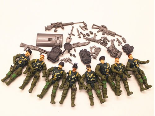 Gi Joe Black Ninja Costume (8pcs Joe Military Soldiers Army Action Figure Toy Doll And Weapons)