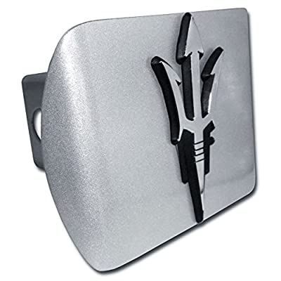 "Arizona State Sundevils ""Brushed Silver with Chrome ""Pitchfork"" Emblem"" Metal Trailer Hitch Cover Fits 2 Inch Auto Car Truck Receiver with NCAA College Sports Logo: Automotive"
