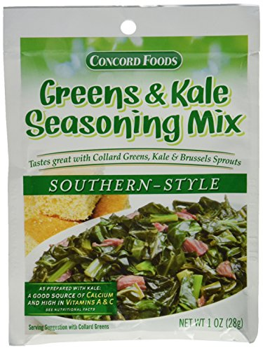 Smoked In Ham Bone - Concord Foods Southern Style Greens & Kale Seasoning Mix (Pack of 4) 1 oz Packets