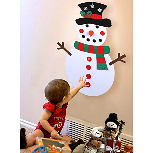 Aparty4u DIY Felt Christmas Snowman Game Set with 31pcs Detachable Ornaments, Wall Hanging Xmas Gifts for Kids Christmas Decorations
