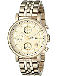 Fossil Womens ES2197 Gold-Tone Stainless Steel Watch with Link Bracelet