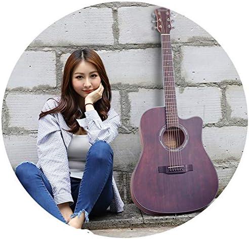 YJFENG フォークギター、 スプルース単板 音の質 コーティングは手を傷つけません 閉じたノブ 初心者ギターギター酒宴 (Color : Brown, Size : 105cm)