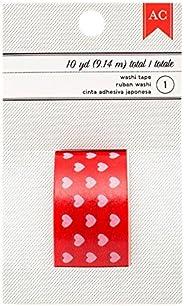 American Crafts Washi–Cinta Adhesiva con Estampado de San Valentín 9,1m Corazones, Color Rosa