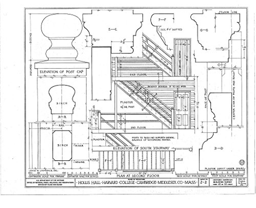 (historic pictoric Blueprint Diagram HABS Mass,9-CAMB,3D- (Sheet 10 of 10) - Harvard College, Hollis Hall, Harvard Yard, Cambridge, Middlesex County, MA 20in x 16in)